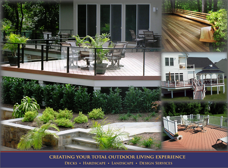 Decks in Maryland and Virginia built by Sundecks, including hardscaping, landscaping, and deck building design services